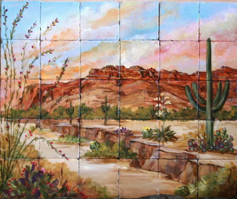 Custom hand painted tile murals for Desert wall mural