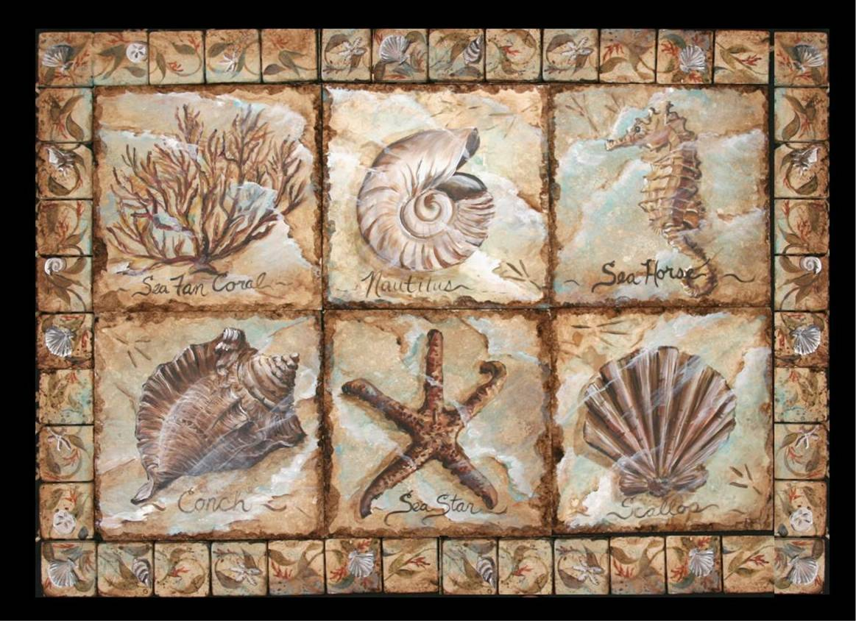 Sea life tile mural for Decorative tile mural