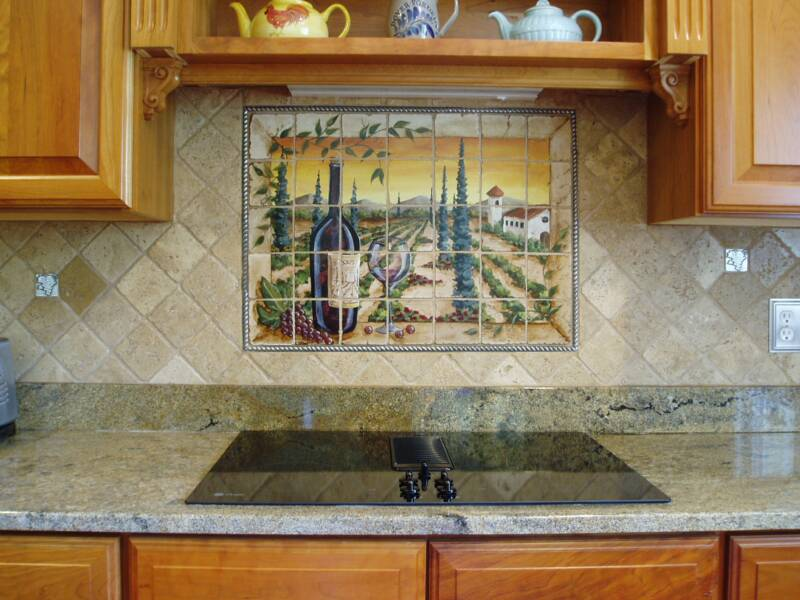 Tre sorelle hand painted tile mural installations for Custom photo tile mural